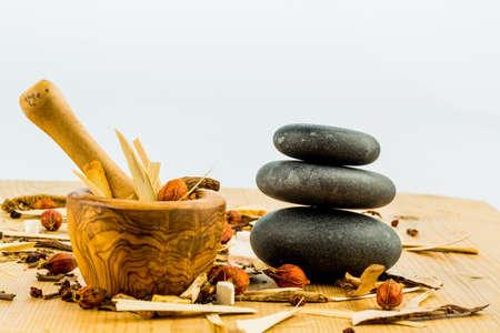 중국 전통 의학에서 차 한 잔에 대한 성분. 다른 방법으로 질병의 치료.