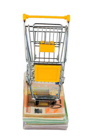 consumerist: shopping cart stands on banknotes, symbolic photo for shopping, purchasing power, money printing and inflation Stock Photo