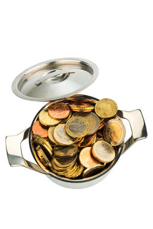 subsidize: a pot is filled with euro coins photo icon for government grants and subsidies