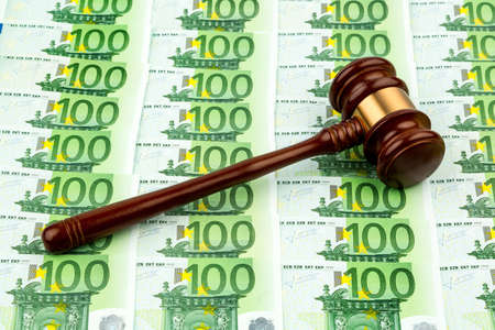 directed: gavel and euro banknotes. symbolic photo for costs in court, rule of law and auctions
