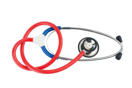 pracitioner: stethoscope on white background, photo icon for the medical profession and cardiovascular disease Stock Photo