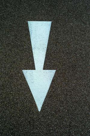 arrow direction as a marker on a bike path in linz, austria Stock Photo