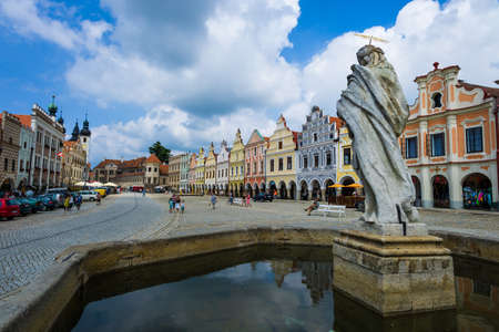 house gable: the historic town square of telc in the czech republic.