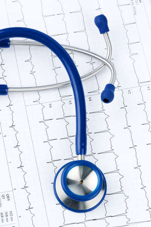 physicans: stethoscope and electrocardiogram, symbolic photo for heart disease and diagnosis