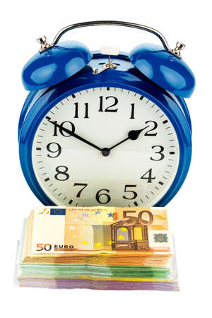 collective bargaining: an alarm clock and notes, symbolic photo for labor costs, labor costs, time work Stock Photo