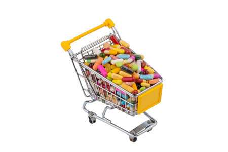 consumerist: tablets with shopping cart. photo icon for the purchase of drugs on the internet