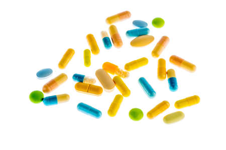 therapie: many tablets are on a light background. symbolic photo for medicine and drugs the pharmaceutical industry