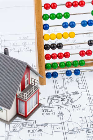 single familiy: house, abacus, plan, symbolic photo for house construction, financing, building society Stock Photo
