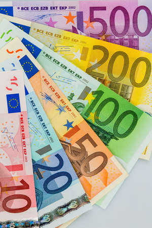 additional: many different euro bills. photo icon for wealth and investment.