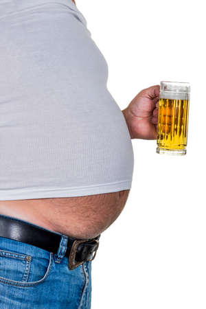 constrict: man with overweight. symbolic photo for beer belly, unsuccessful diets and poor diet.