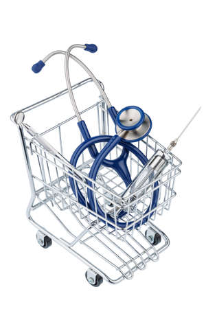 physicans: stethoscope and shopping cart, photo icon for the medical profession and practice acquisition