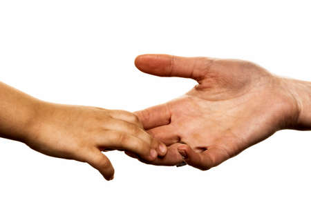 responsibly: small and large hand symbolism for trust, protect, security
