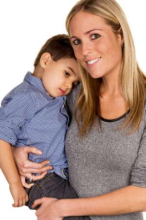 AlleinerzieherIn: Mutter und Sohn Symbol der Liebe, F�rsorge, alleinerziehende Mutter