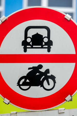 mopeds: prohibition sign for car and motorcycle, symbol of transport policy, noise abatement, climate protection