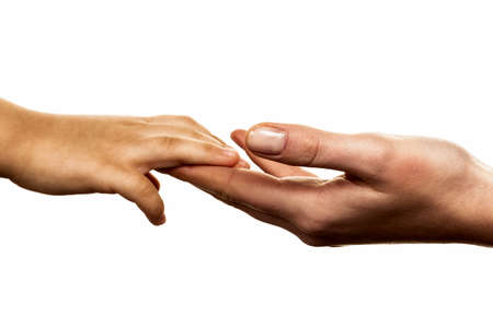 solicitous: small and large hand symbolism for trust, protect, security