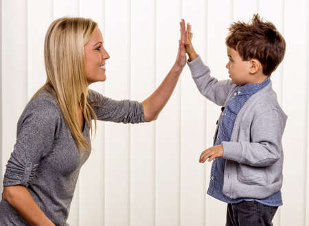 proximity: mother and son symbol of love, fun, childhood, happiness