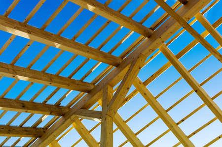 la construction du toit en bois Banque d'images