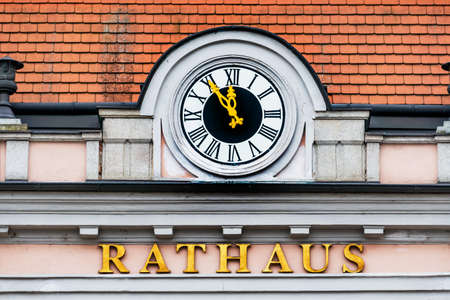 municipalities: clock at the town hall, the symbol of an empty treasury in municipalities and communities.