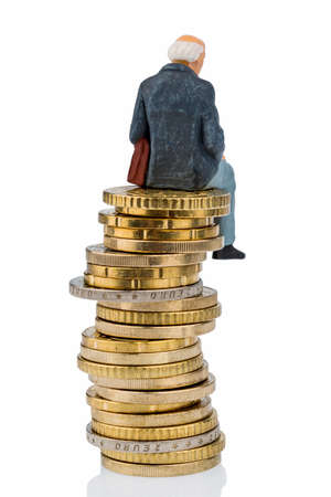 pensioner sitting on a pile of money