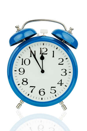 respond: a blue alarm clock on white background.