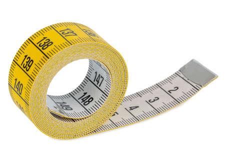 cintas metricas: cinta métrica amarilla, foto simbólica para el control de la dieta y de precisión