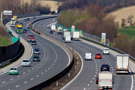 toll: trucks on the highway. road transport of goods.