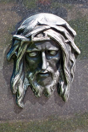 theology: christ the head, relief, close-up