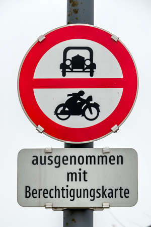 fcc: prohibition sign for car and motorcycle, symbol of transport policy, noise protection, bureaucracy