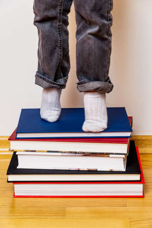 general knowledge: child standing on a pile of books, symbolizing education, reading, learning support