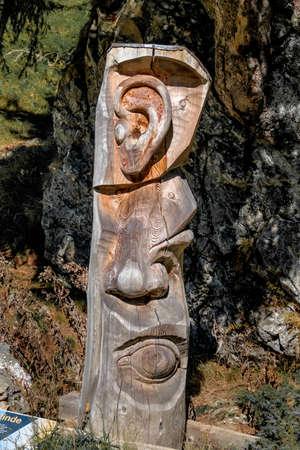 sense of sight: carving tree trunk sense organs, symbol of hearing, smell, sight Stock Photo