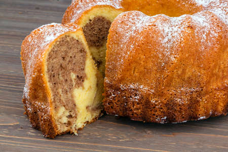 shares: a marble cake for dessert. symbolic photo for taxes, fees and shares Stock Photo