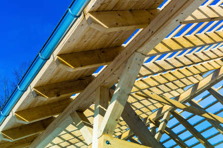 construction house: wooden roof construction, symbolic photo for home, house building, and house financing Stock Photo