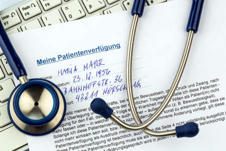 will power: a living will in german language. instructions for the doctor or hospital in the event of a terminal illness. Stock Photo
