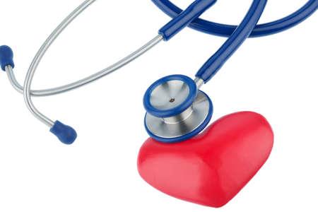 Stethoskop und ein Herzsymbolfoto für kardiovaskuläres Risiko und Herzinfarkt