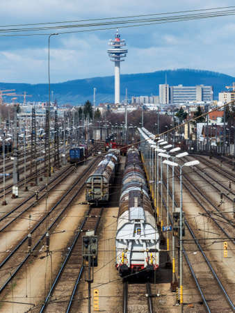 loads: freight trains on a shunting in vienna. transport of loads on the rail.