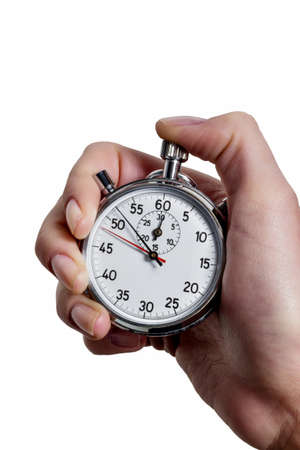 timekeeping: a hand holding a stopwatch.