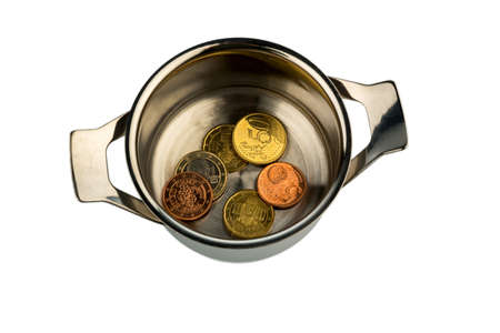 requirements: few euro coins in a saucepan, symbolic photo for sovereign debt and financial requirements Stock Photo