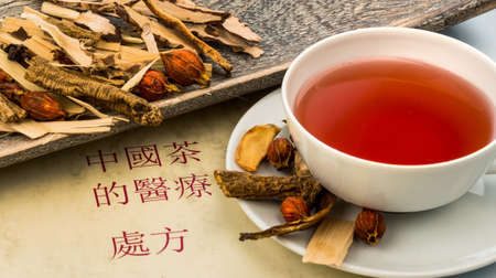ingredients for a cup of tea in traditional chinese medicine.