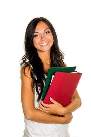 collective bargaining: a young student with folders in hands. Stock Photo