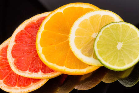 meatless: slices of an orange. symbolic photo for healthy vitamins with fresh fruit Stock Photo