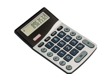 mathematically: a calculator lies on a white background Stock Photo