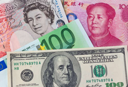 chinese american: american dollars. chinese yuan. euro money. british pound. several major currencies