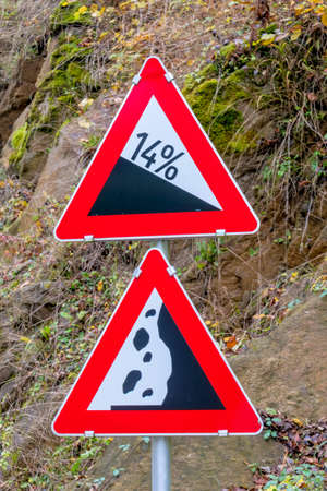 braking distance: signs rockfall and slope, symbol of danger accident risk, safety