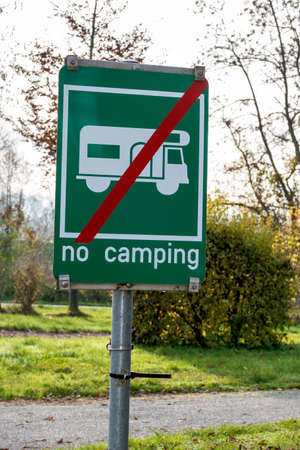 prohibitions: sign camping prohibited symbol of prohibitions, leisure, vacation Stock Photo