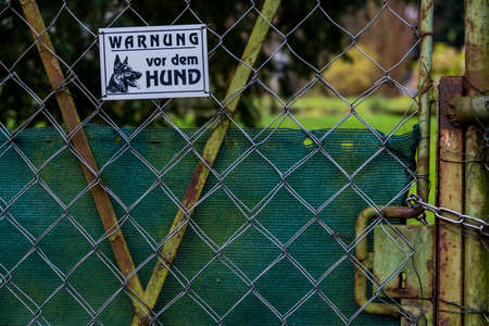 deterrence: sign warning of the dog, symbol of private ownership, protection, deterrence Stock Photo