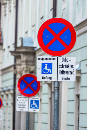 no stopping sign wheelchair symbol of prohibitions, towing, order
