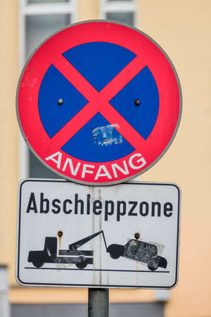 punishable: no stopping sign tow zone symbol of prohibitions, towing, order
