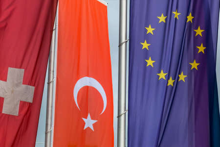 accession: european flag and other flags, symbols for eu membership for turkey