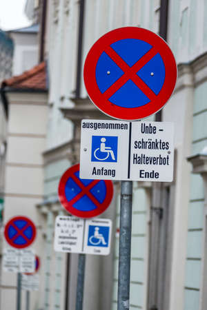 wheelchair users: no stopping sign wheelchair symbol of prohibitions, towing, order