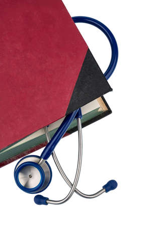 pracitioner: book and stethoscope, symbolic photo for bungling doctors errors and expertise Stock Photo